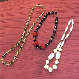 Set of three vintage funky beaded necklaces